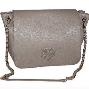 Tory Burch bombe flap shoulder bag french grey